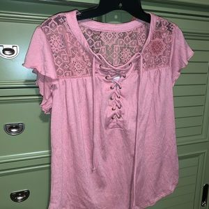 Pink Top Lace Back